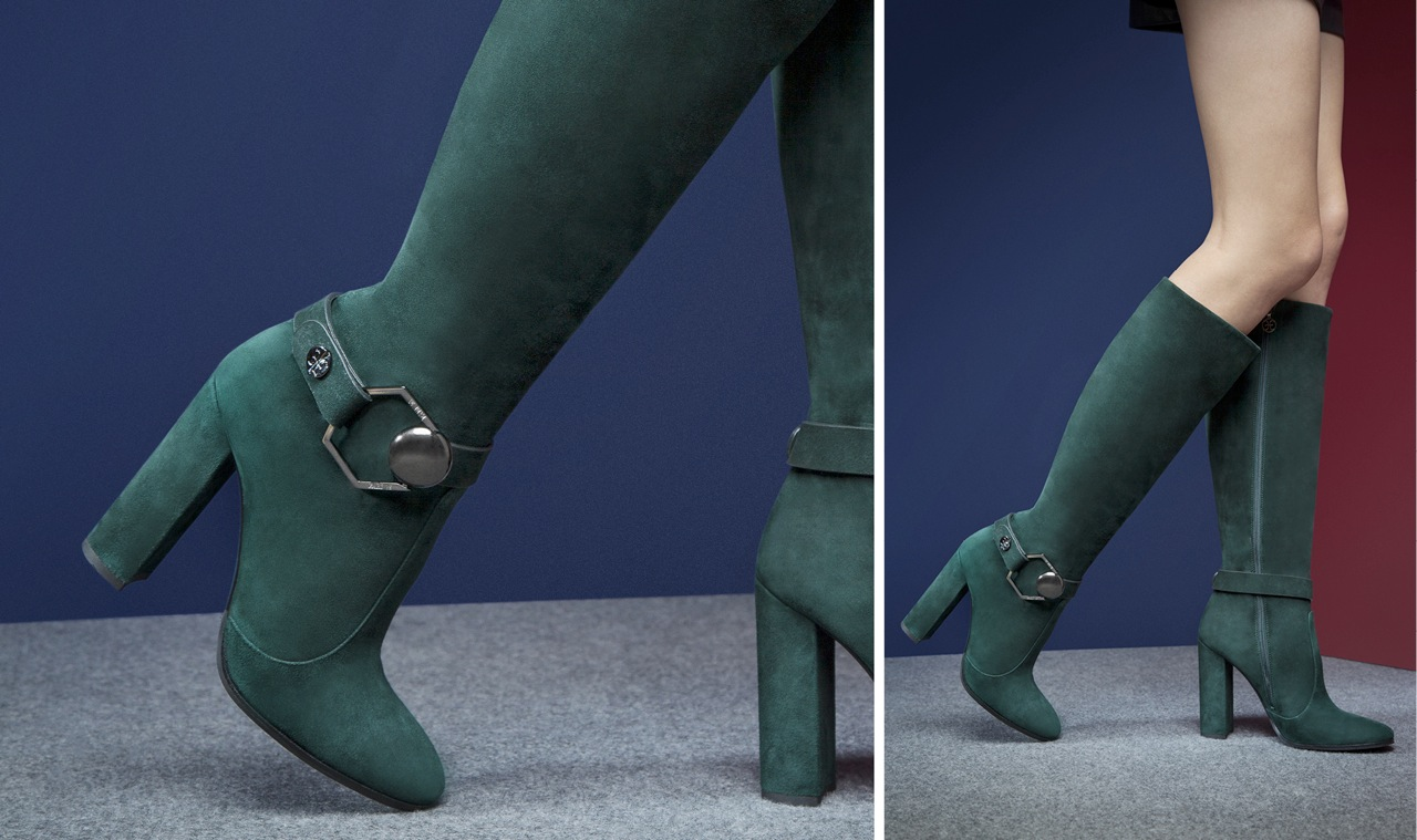 TALL SUEDE BOOTS WITH DETACHABLE ANKLET