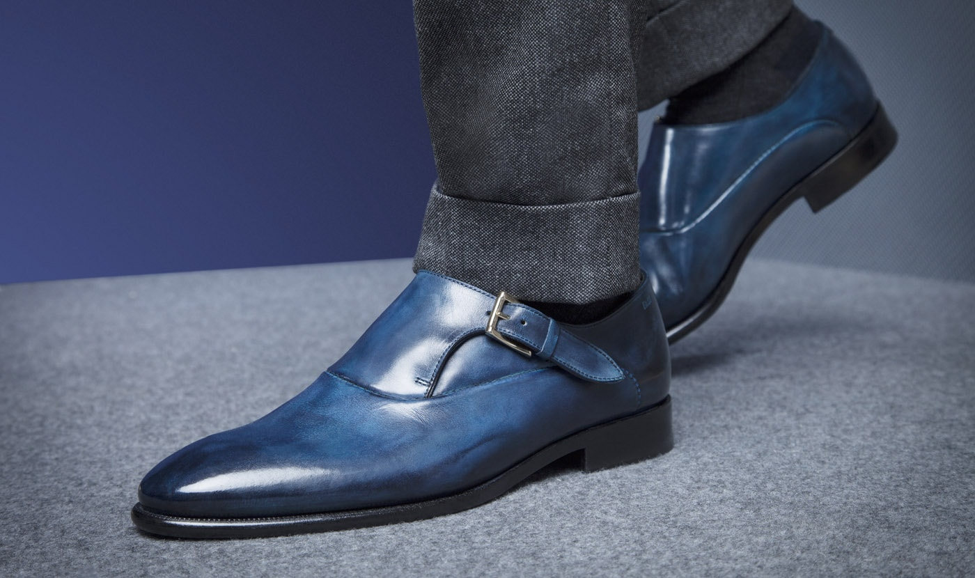 MONKSTRAP FLEX GOODYEAR IN VITELLO BLU SFERRETTATO
