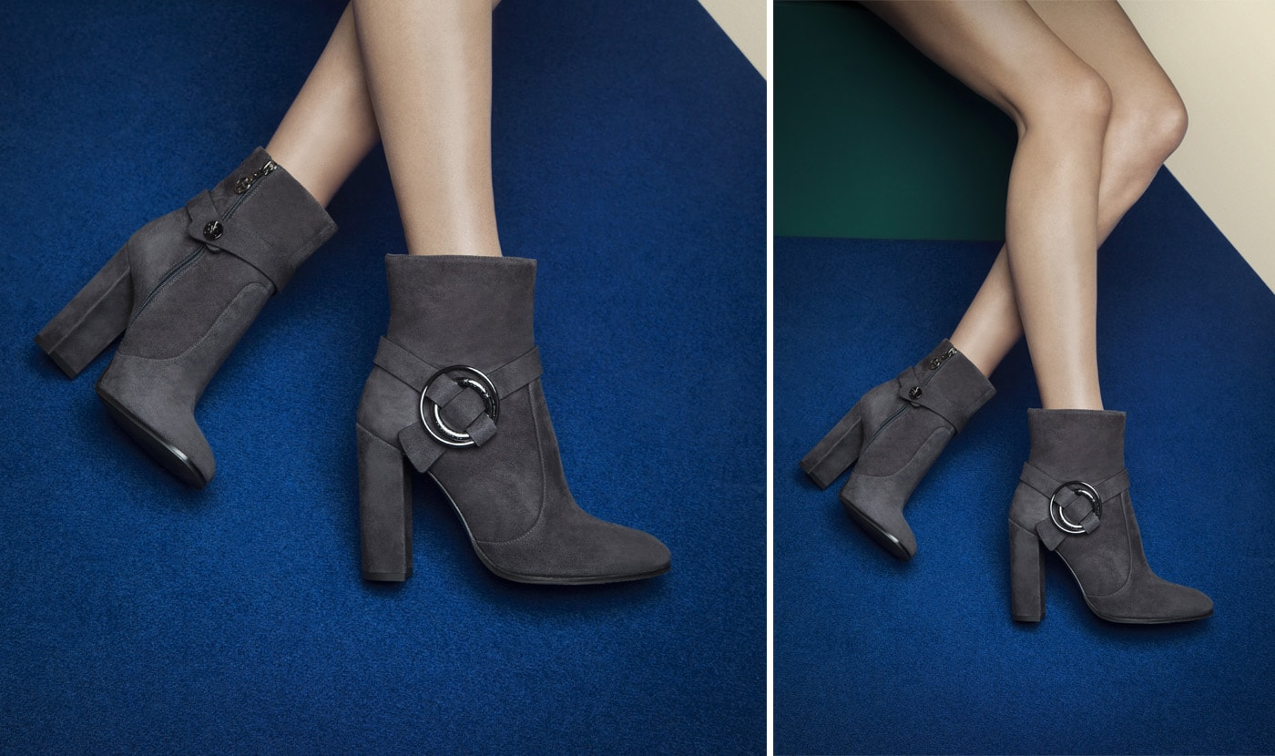 SUEDE ANKLE BOOTS WITH DECORATIVE ANKLET