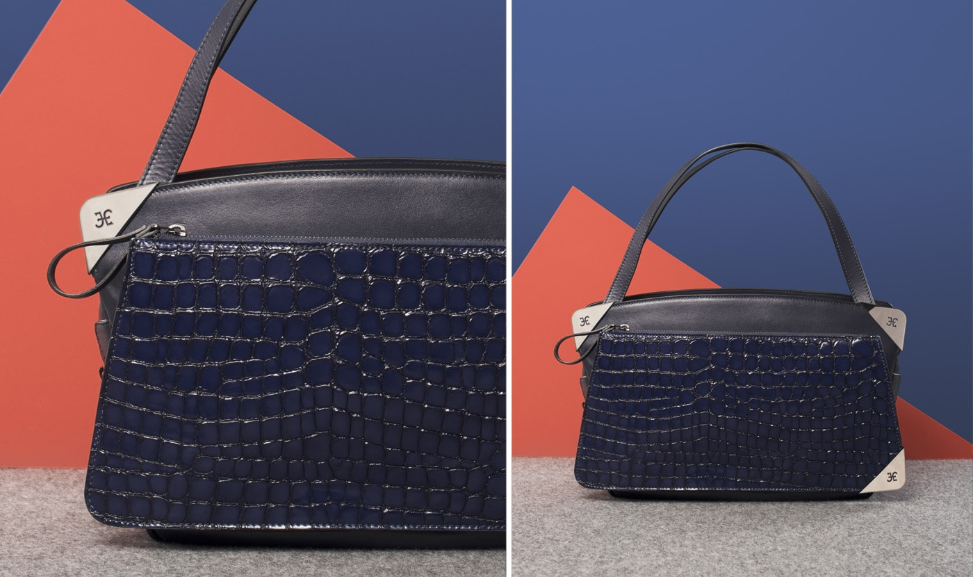 SHOULDER BAG WITH OUTER POCKET IN COBALT CROCODILE SKIN