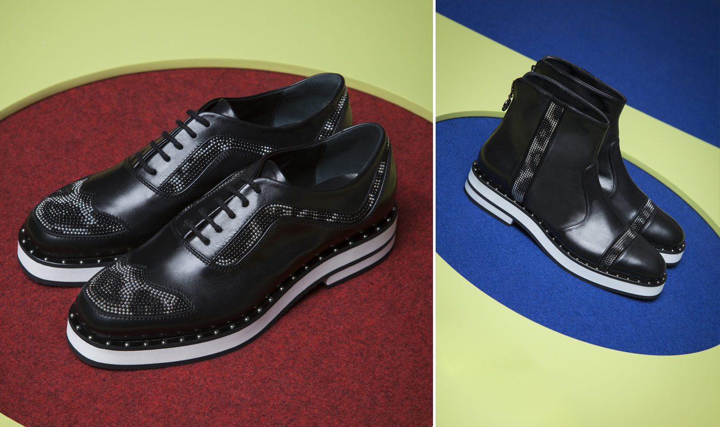 LACE-UPS WITH MICRO-STUDS / ROCK INSPIRED BEATLE BOOTS WITH A RUBBER SOLE