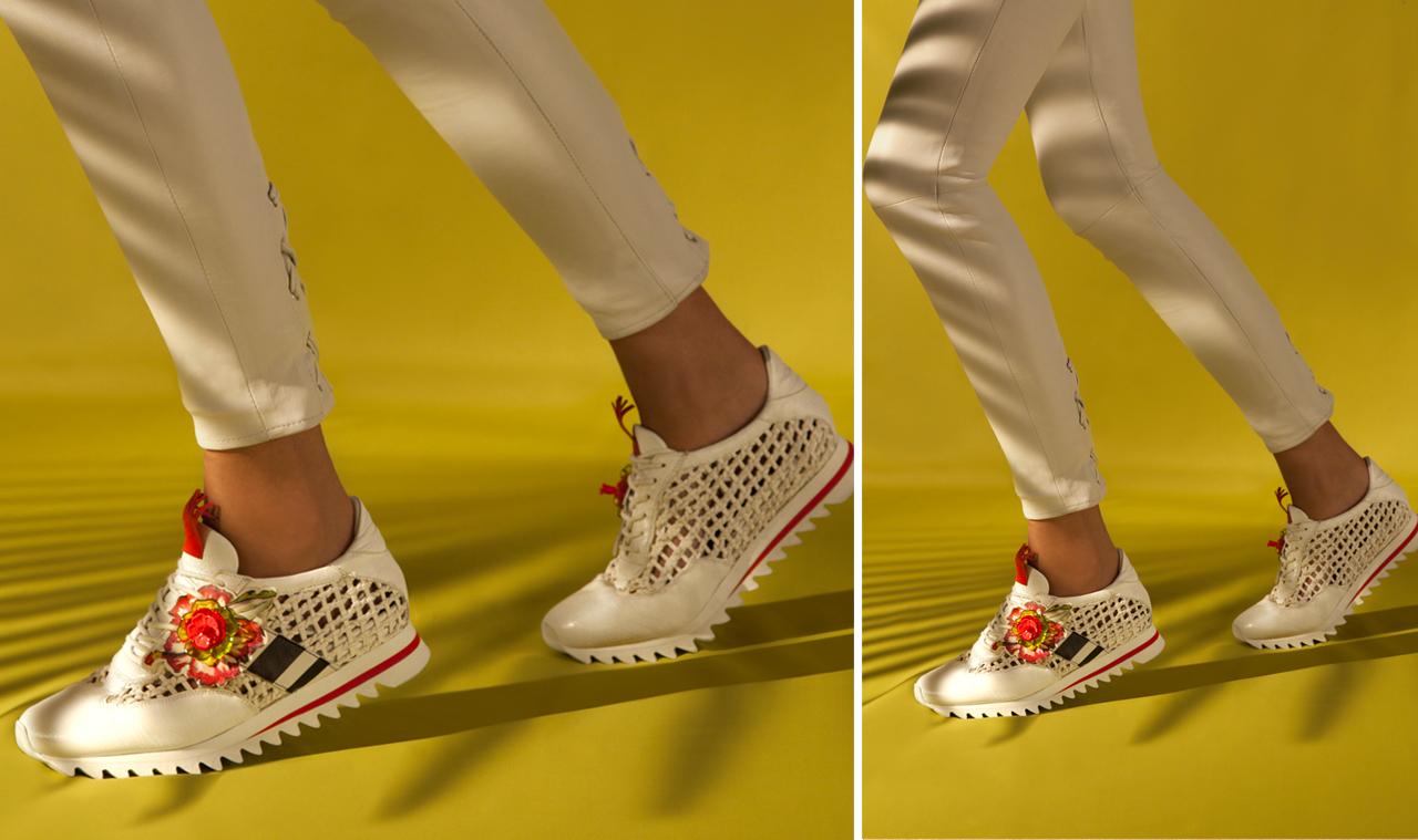 Sneaker intrecciata totalmente sfoderata. Accessorio glam floreale.