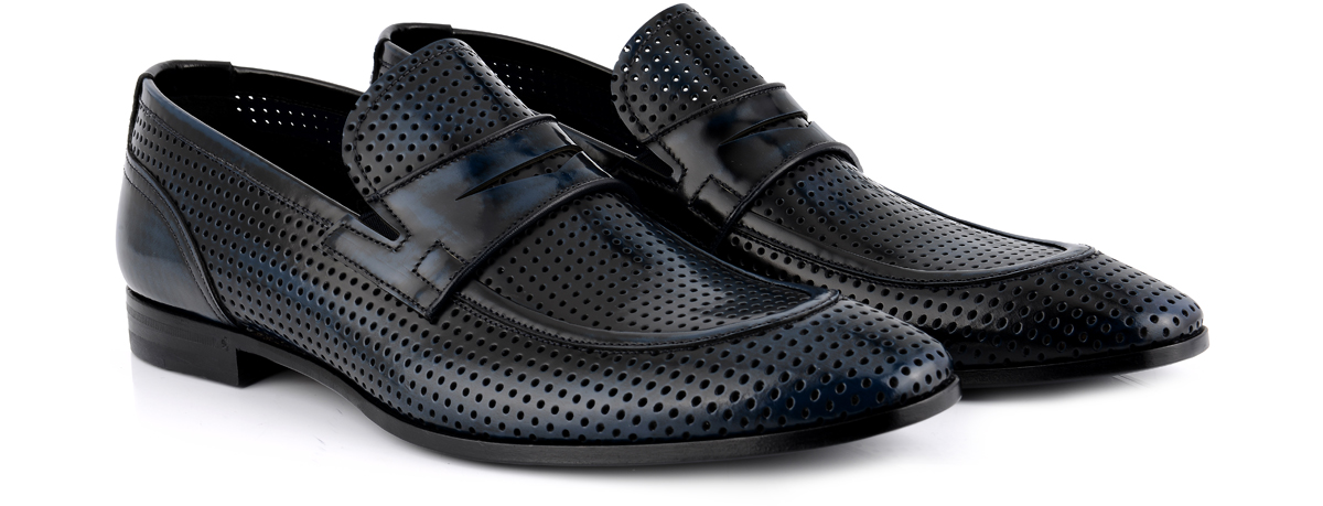 Men's perforated leather shoes: lace-up